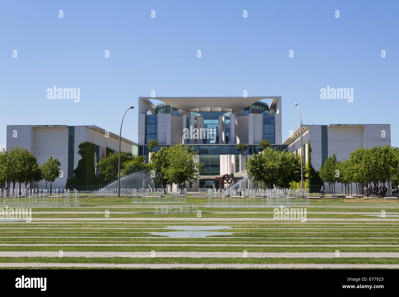 The German Federal Chancellery (Bundeskanzleramt) exterior front view. Stock Photo
