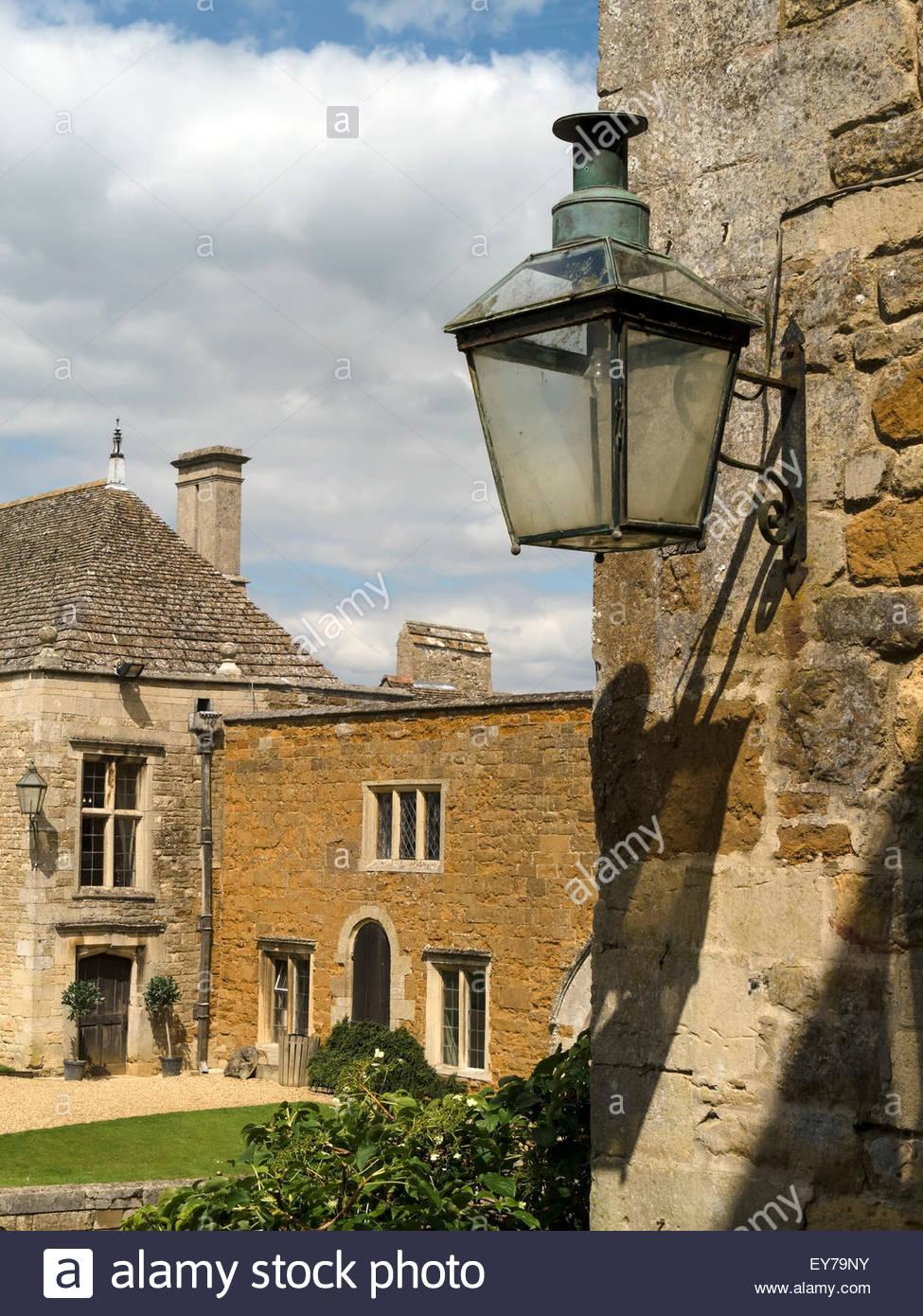 Old lantern outside light, Rockingham Castle, Northamptonshire, England, UK. - Stock Image