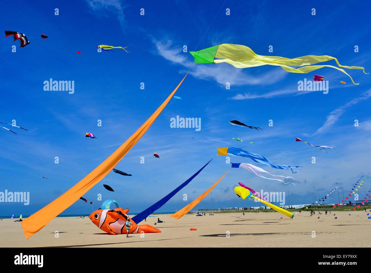 Kites flying at beach kite festival - Stock Image
