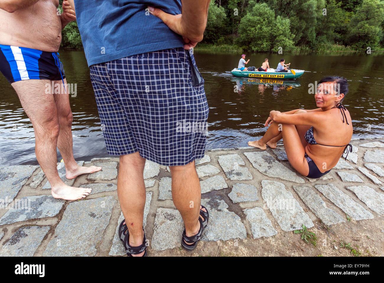 Going down the river Vltava, rafting, South Bohemia, Czech Republic - Stock Image