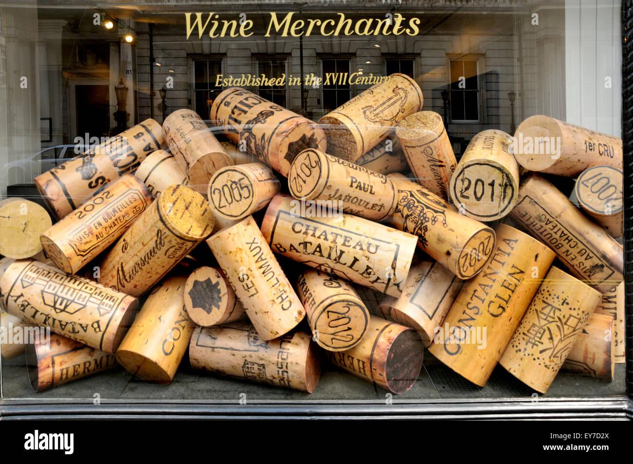 London, England, UK. Huge corks in the window of a wine merchant, Berry Bros & Rudd Ltd, 3 St James's St Stock Photo