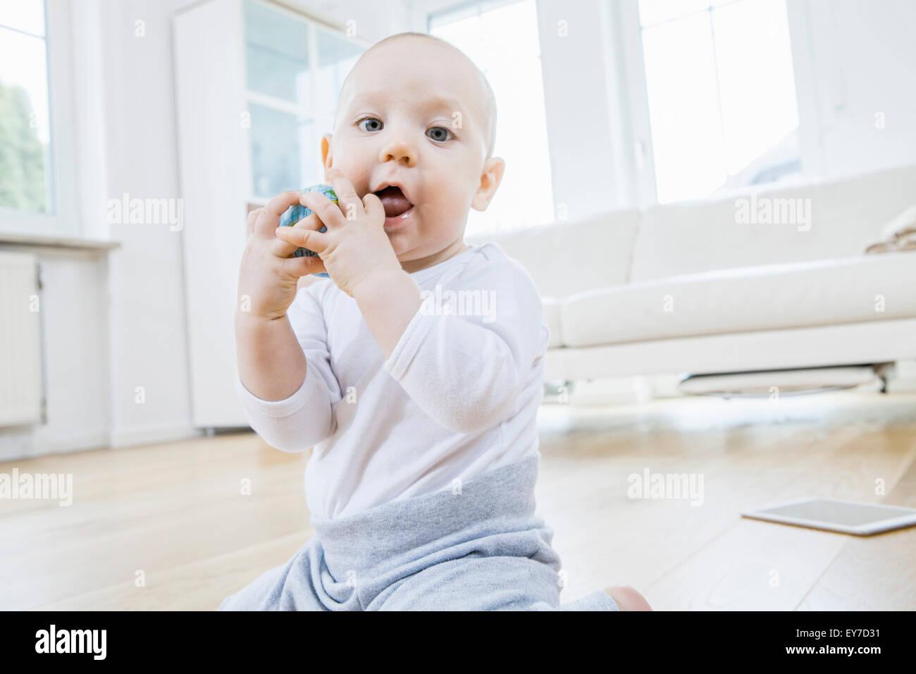 Portrait of baby boy - Stock Image