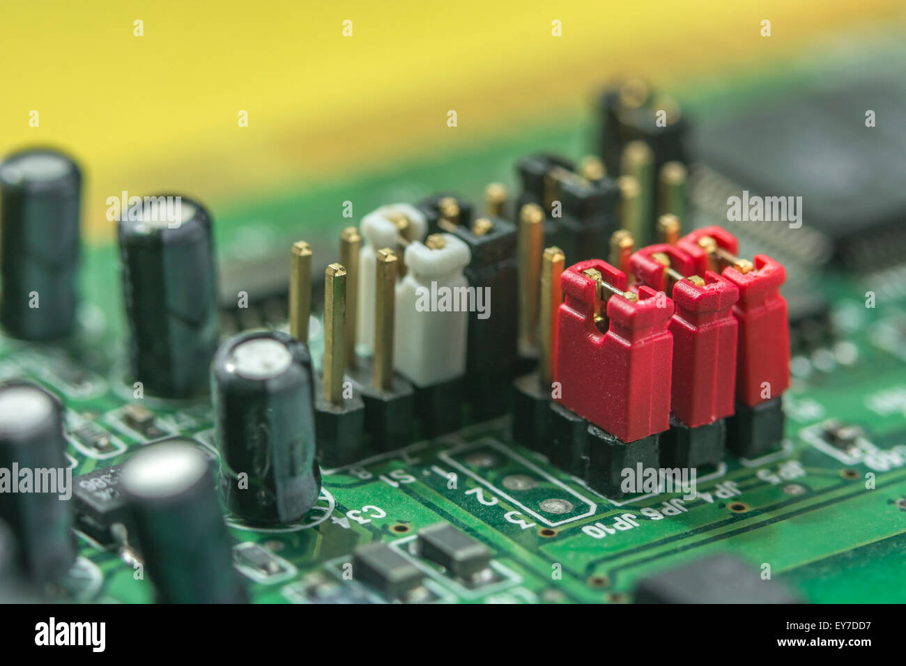 macro photo of printed circuit board (pcb) with set of \u0027jumpersmacro photo of printed circuit board (pcb) with set of \u0027jumpers\u0027