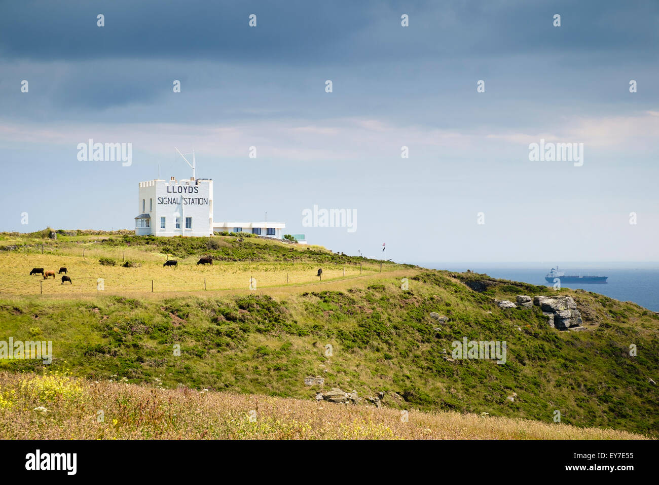 LLoyds Signal Station on the South West Coast Path cliffs overlooking the sea near Lizard Point, Cornwall, England, - Stock Image