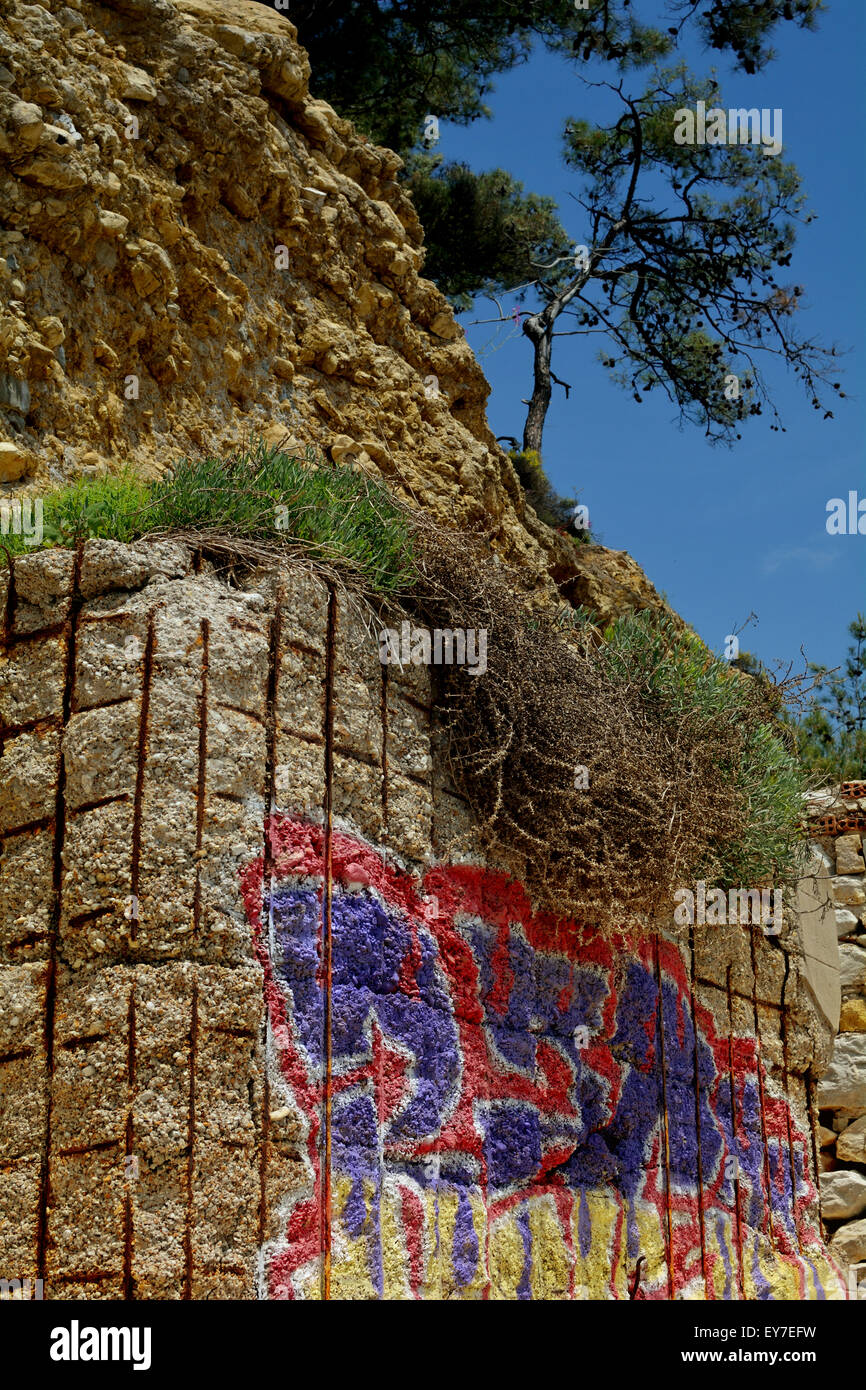 Graffiti on aperture wall - Stock Image