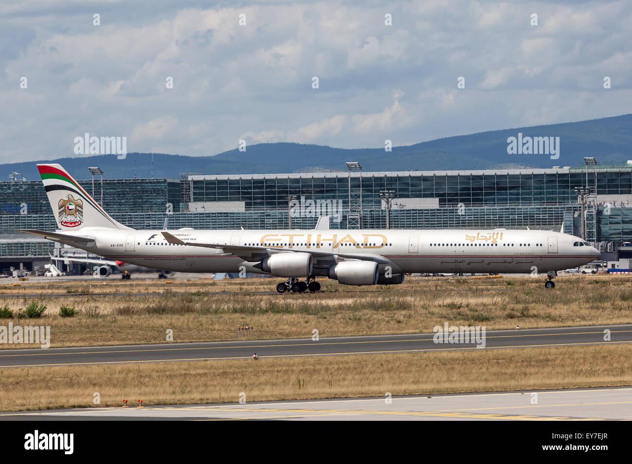 Etihad Airways Airbus A340 at the Frankfurt International Airport - Stock Image
