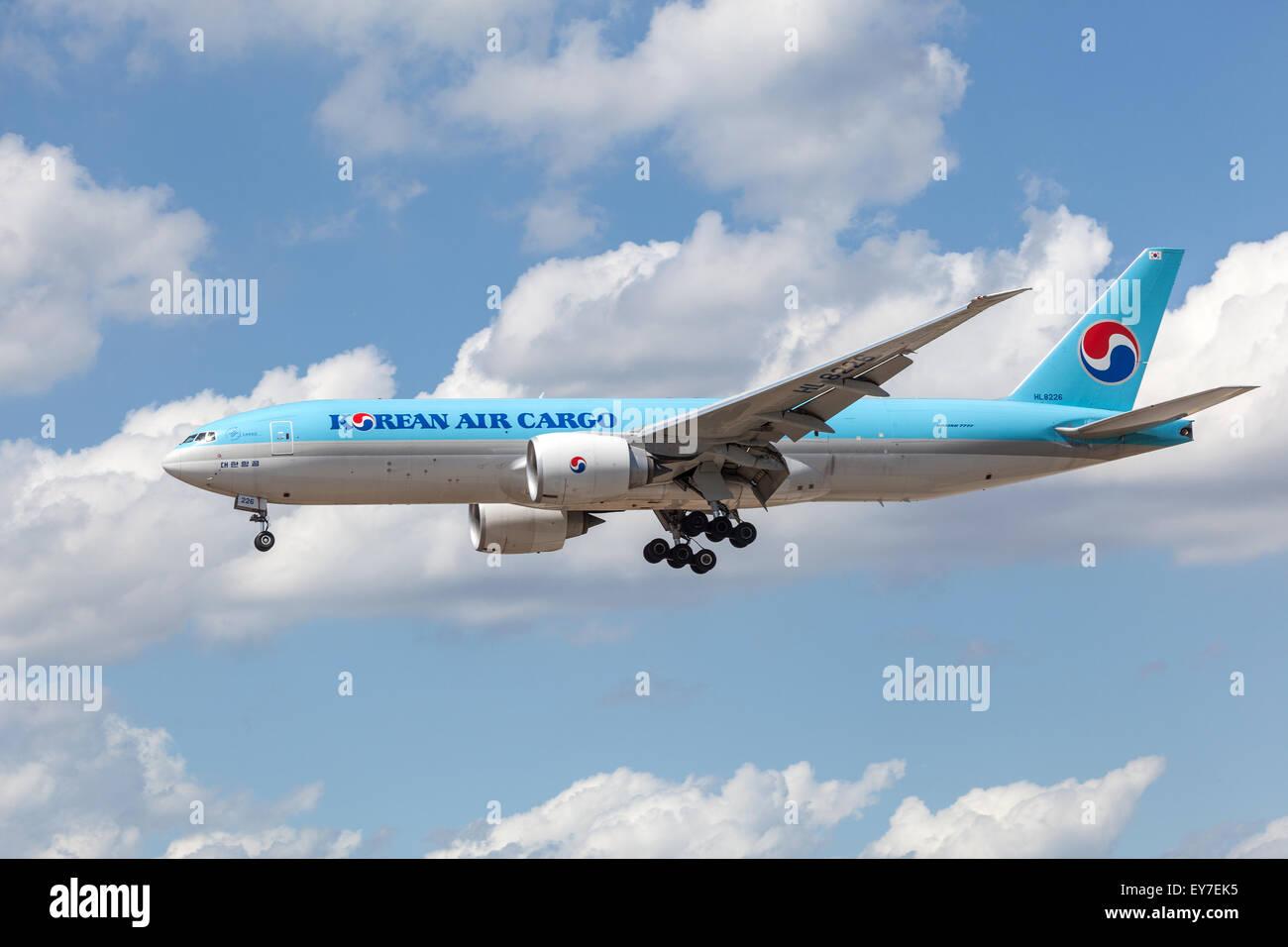 Korean Air Cargo Boeing 777F landing at the Frankfurt International Airport - Stock Image