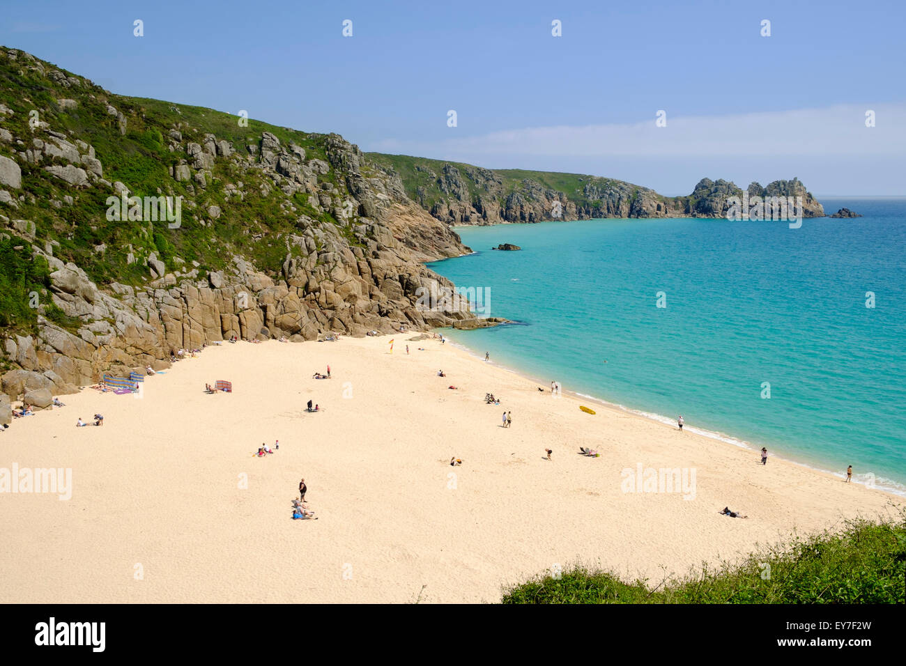 Cornwall beach - Porthcurno in summer - Stock Image