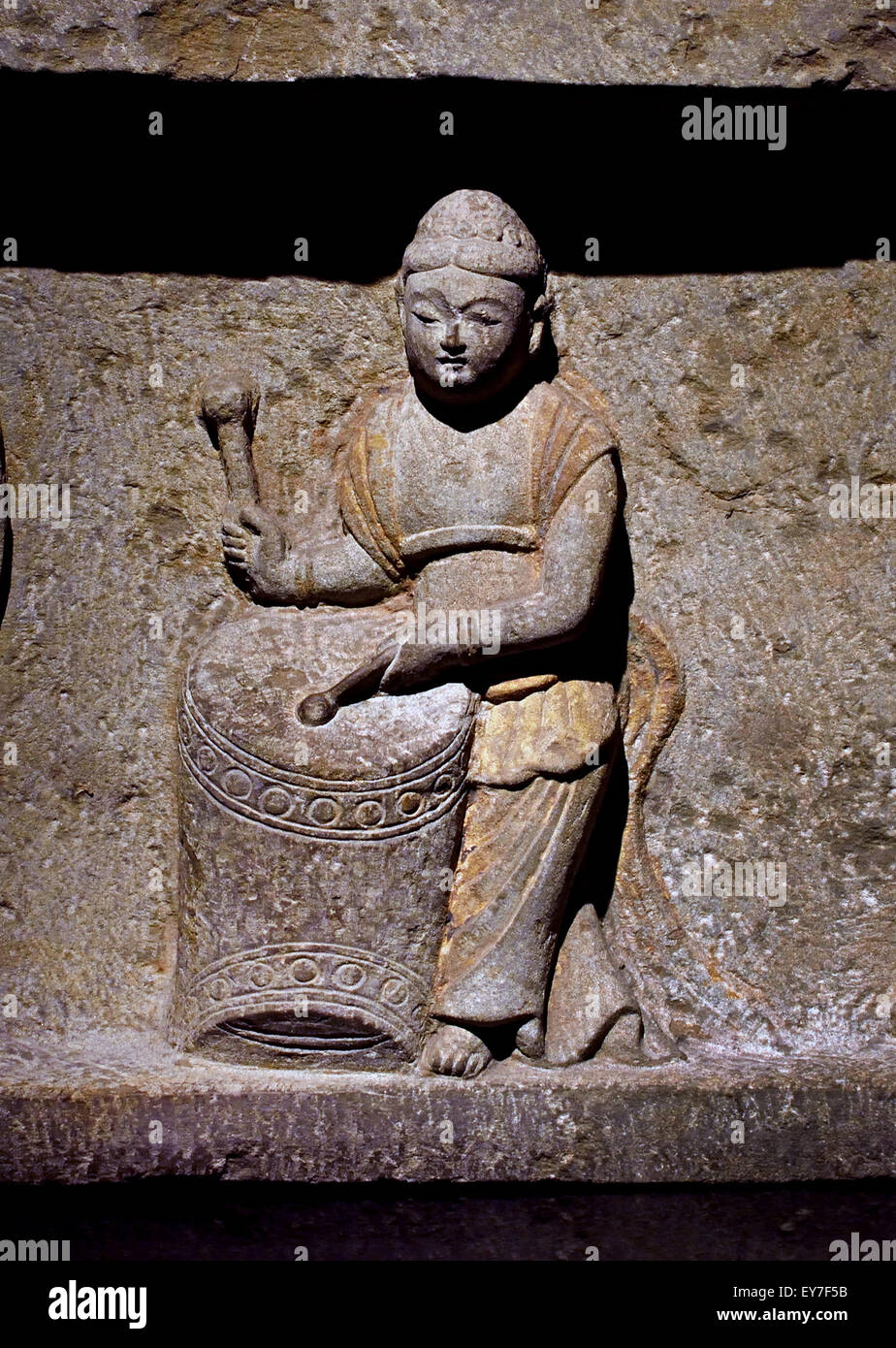 Musician Five Dynasty AD 907-960 Shanghai Museum of ancient Chinese art China ( The period of the five dynasties - Stock Image