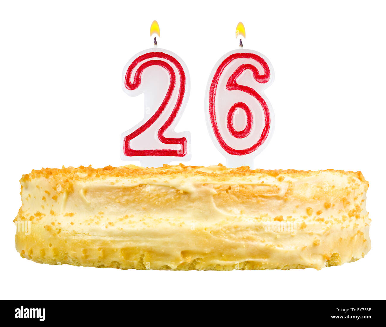 Birthday Cake With Candles Number Twenty Six Isolated On White Stock