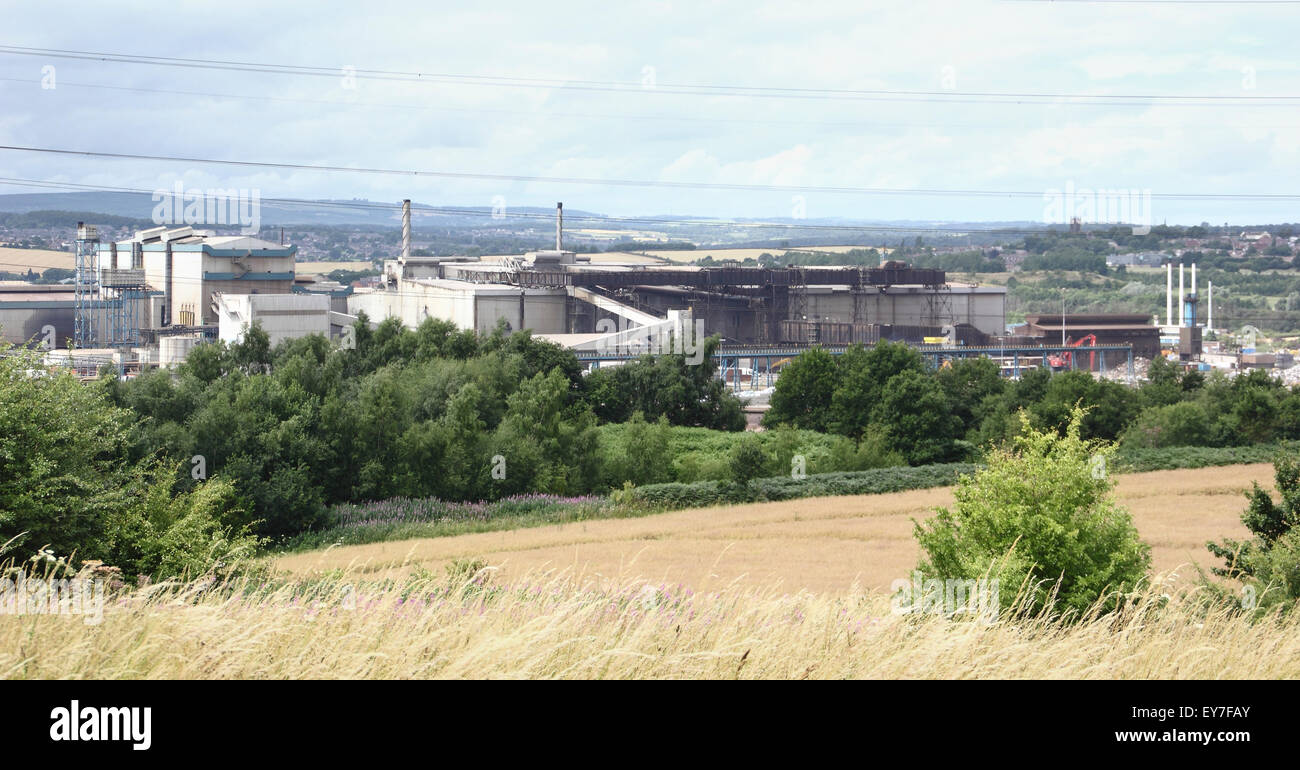 Tata steel plant in Rotherham with views across surrounding fields, South Yorkshire, England, UK - July 2015 Stock Photo