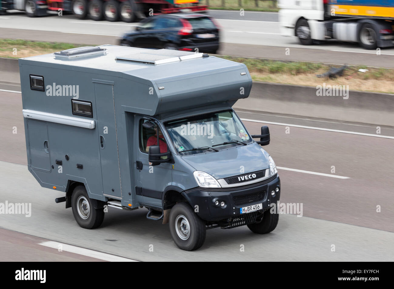 Iveco Offroad Camper Travelling At The A5 Highway In Germany Stock Photo Alamy