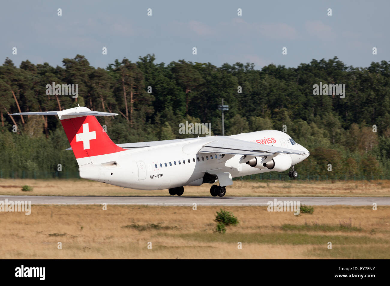 Swiss British Aerospace Avro RJ100 starting from the Frankfurt International Airport - Stock Image