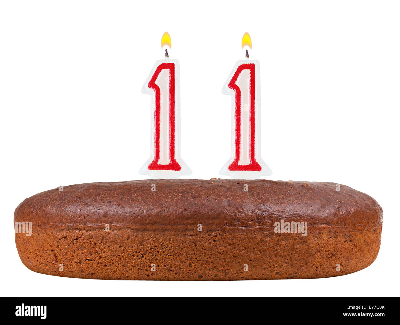 Birthday Cake With Candles Number 11 Isolated On White Background