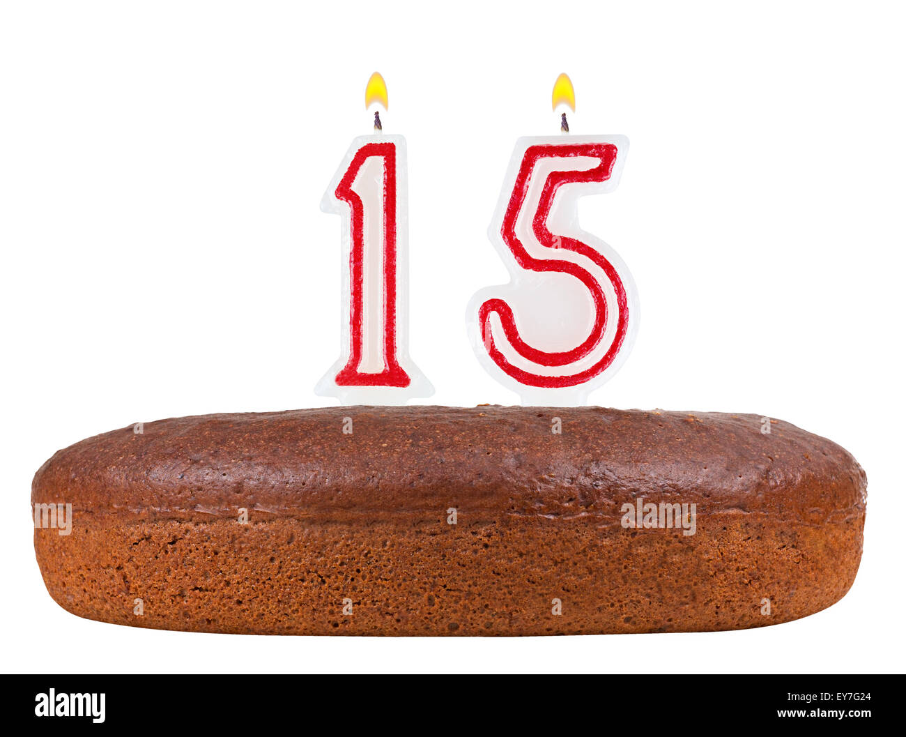 Birthday Cake With Candles Number 15 Isolated On White Background