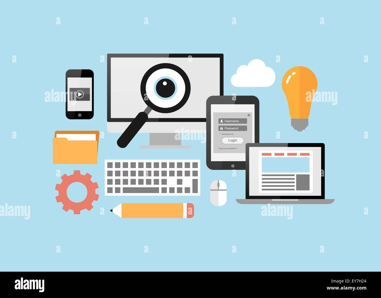 Computer, tablet PC, smart phone, notebook with flat ui design elements on blue background - Stock Image