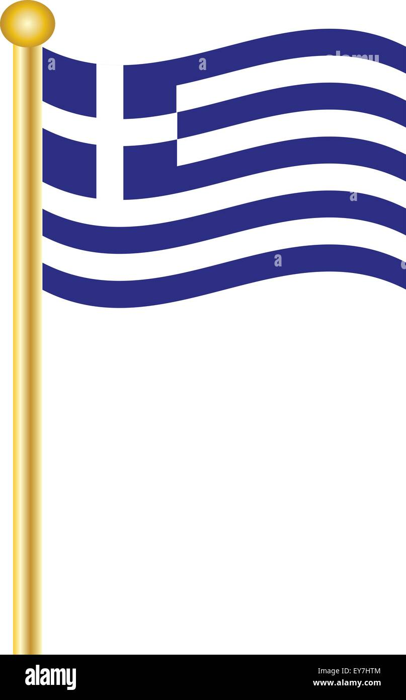 The Greek Flag flying on a gold flagpole - Stock Vector
