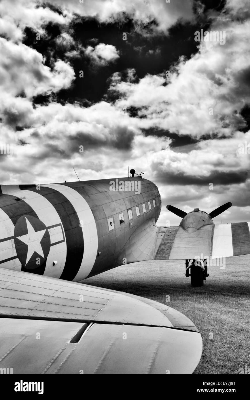 Douglas Dakota C-47 / DC-3 transport aircraft at Bicester flywheel festival. Bicester heritage centre, Oxfordshire, - Stock Image