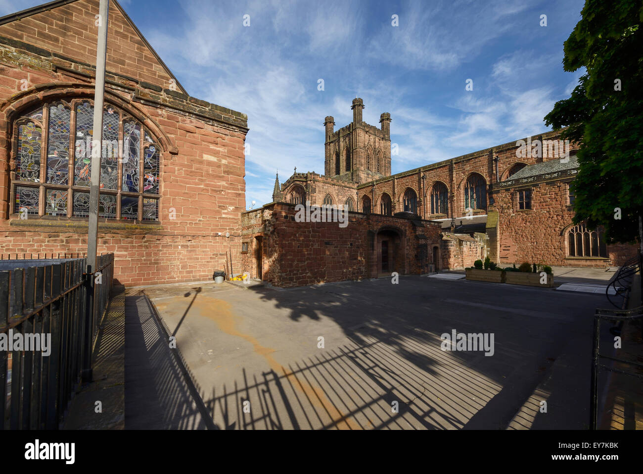 The rear of Chester Cathedral viewed from Abbey Square - Stock Image