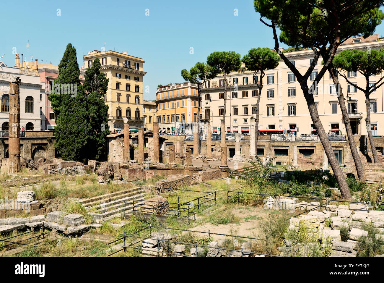 Largo di Torre Argentina is an important place in Rome,  few ruins of temples are there after the last attack. - Stock Image