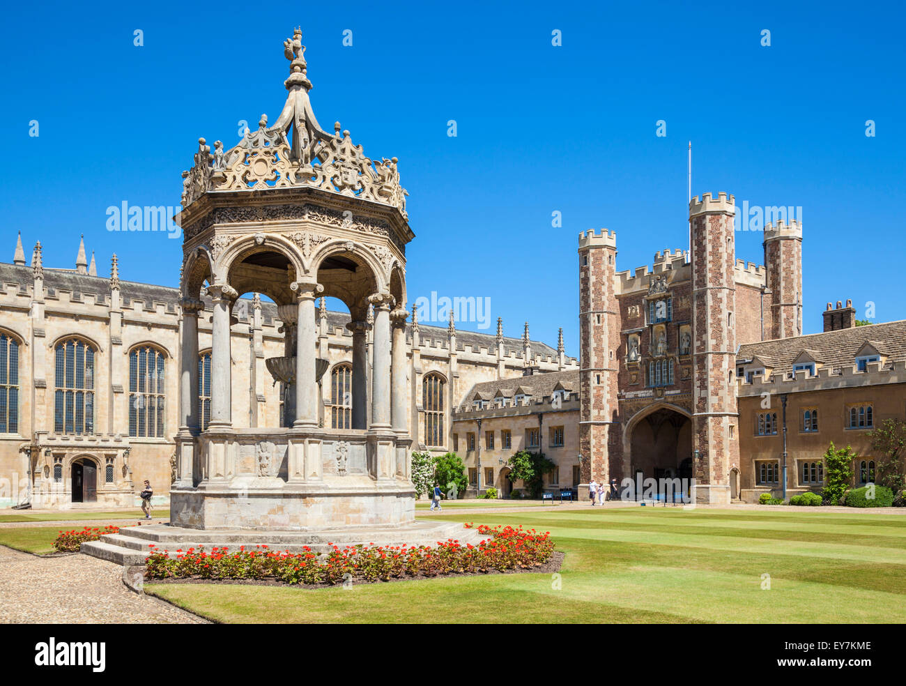The Great Court Trinity College Cambridge University Cambridge Cambridgeshire England UK GB EU Europe - Stock Image