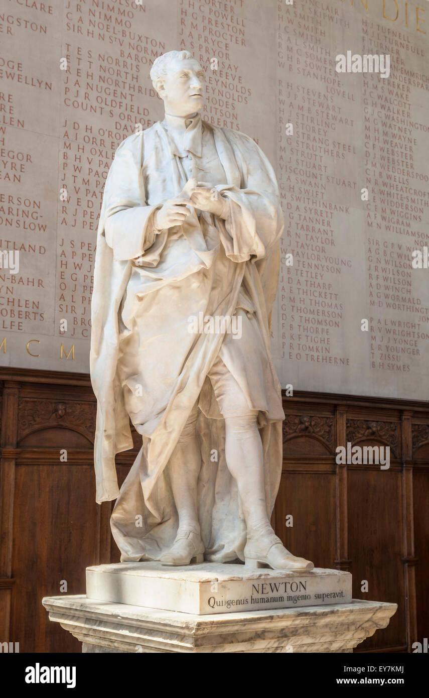 Statue of Sir Isaac Newton Trinity College Chapel Cambridge University  Cambridge Cambridgeshire England UK GB EU - Stock Image