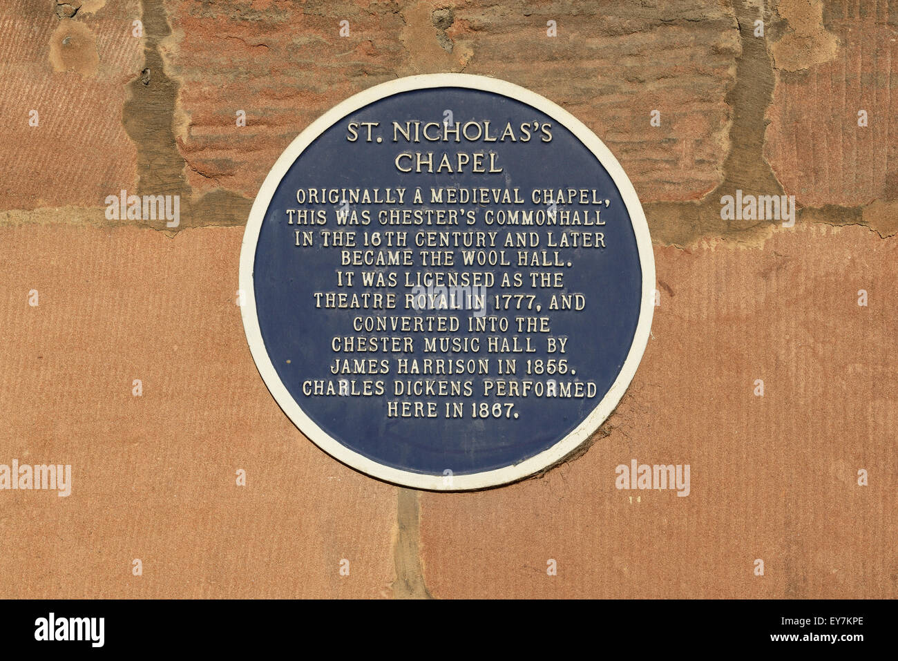 Blue plaque on St Nicholas Chapel in Chester city centre which is now a Superdrug store - Stock Image