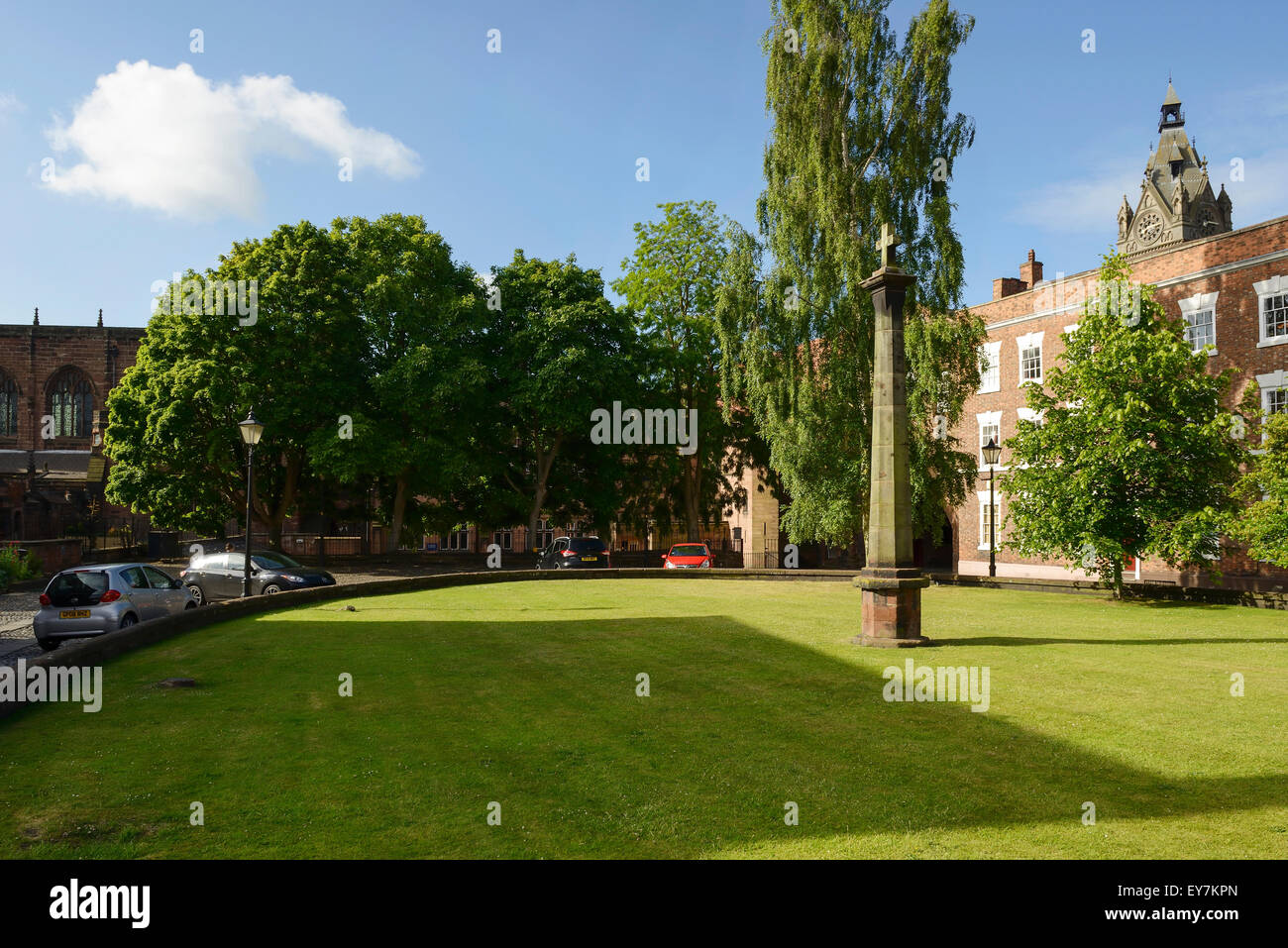 Abbey Square in Chester city centre UK - Stock Image