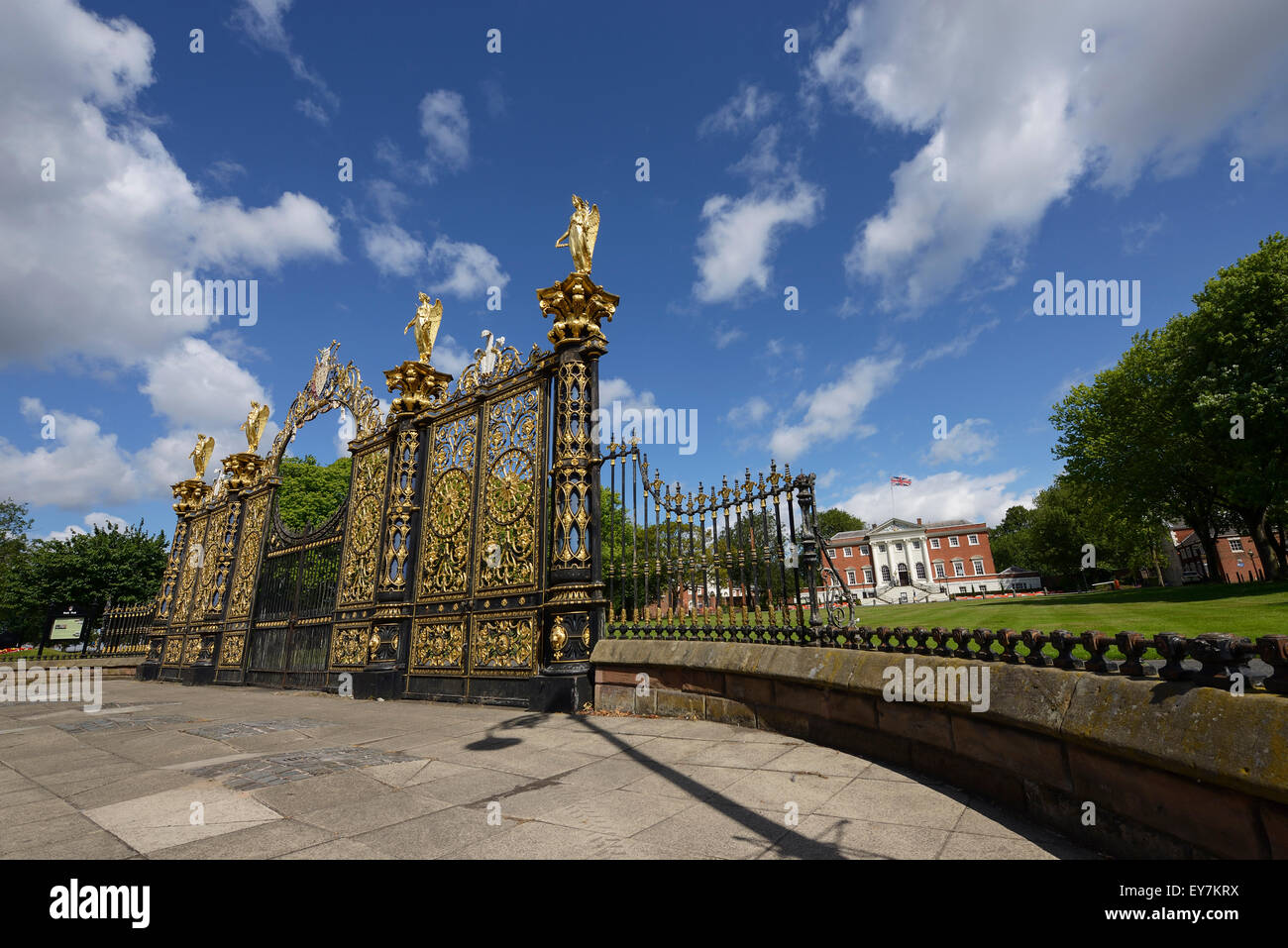 The Golden Gates outside Warrington Town Hall Cheshire UK Stock Photo