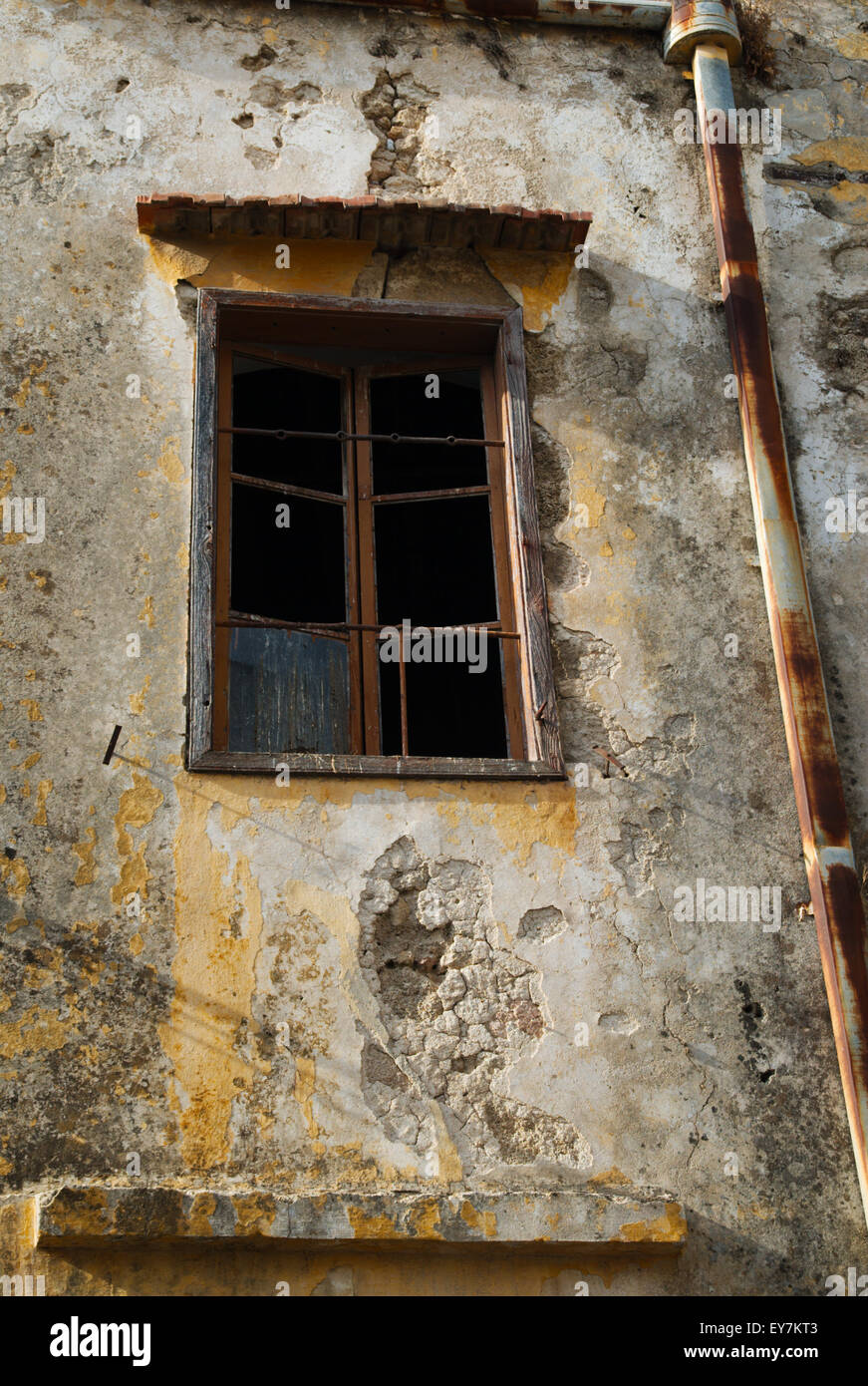 Window and Drainpipe, Rhodes, Greece - Stock Image