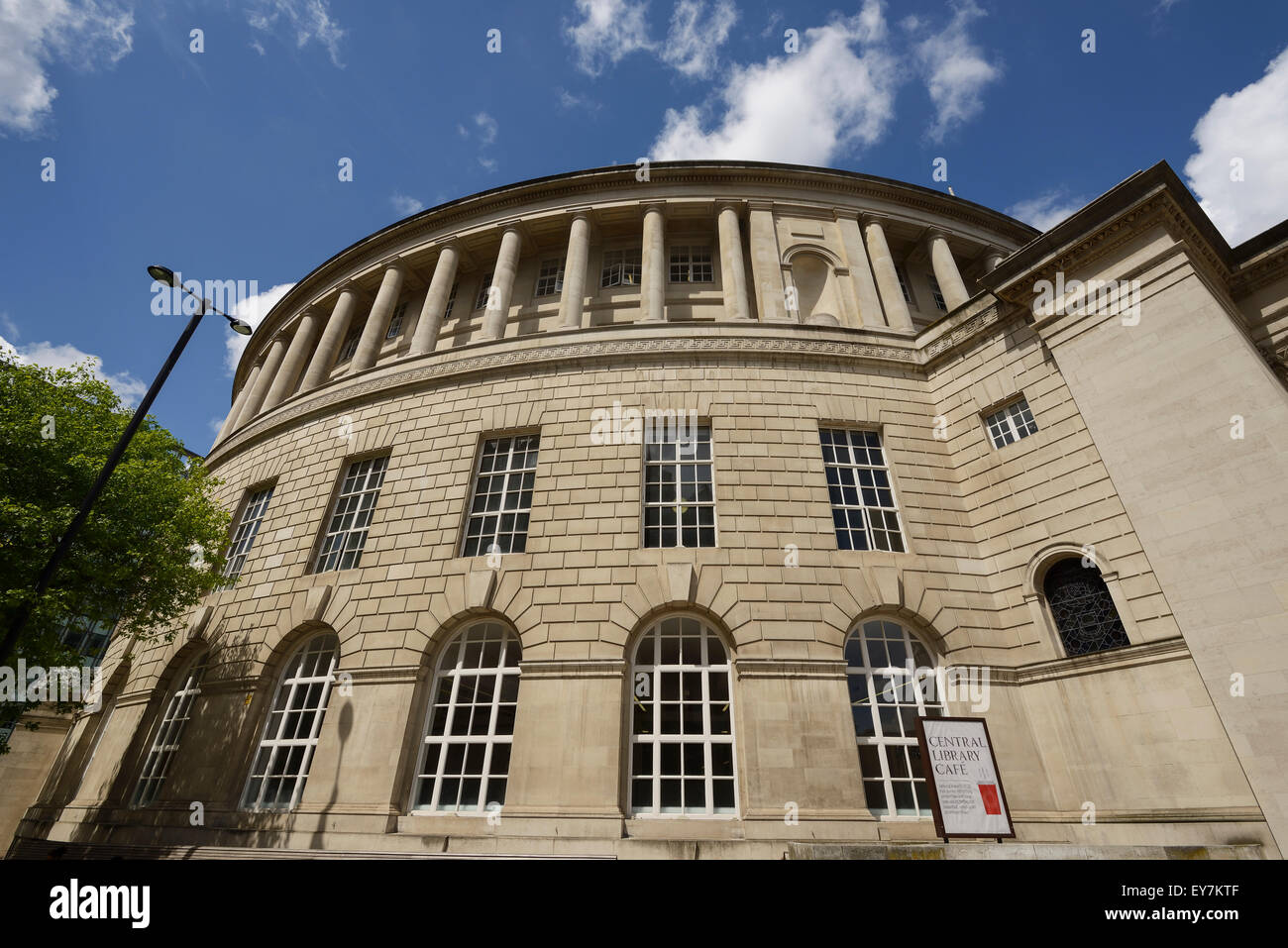 The exterior of Manchester Central Library in Manchester city centre UK - Stock Image