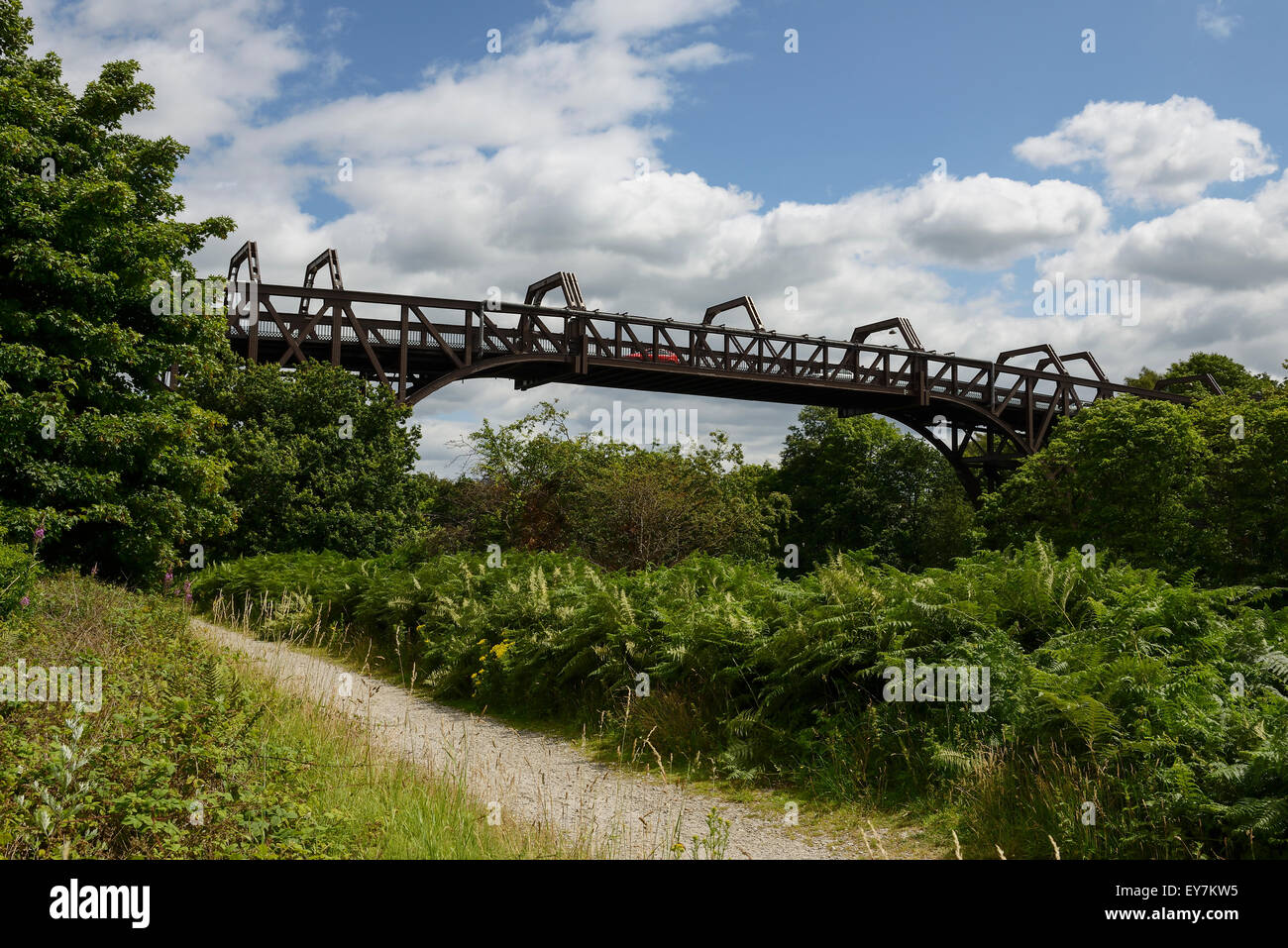 The Cantilever High Level Bridge crossing the Manchester Ship Canal at Latchford Warrington UK - Stock Image