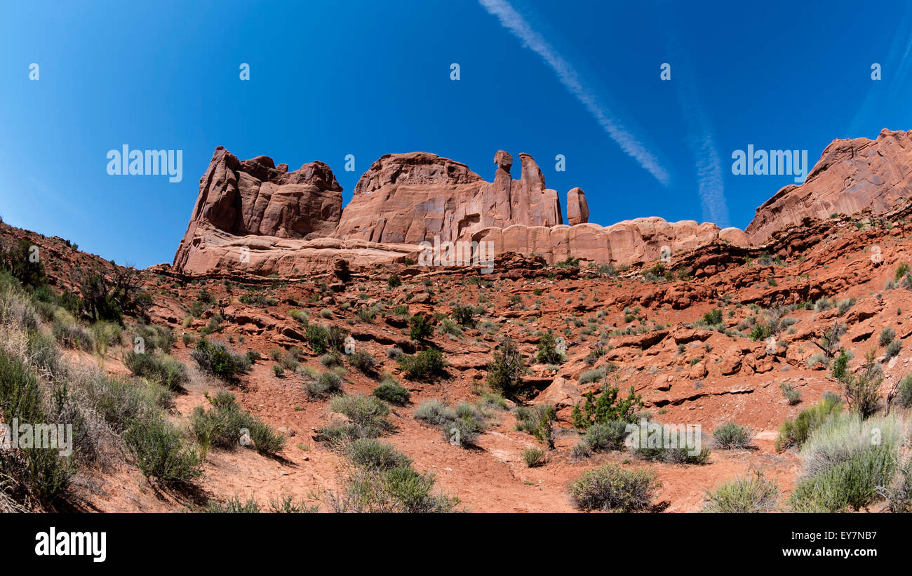 A  rock fins that have broken out of the earth, Arches national Park, Moab, Utah, USA - Stock Image