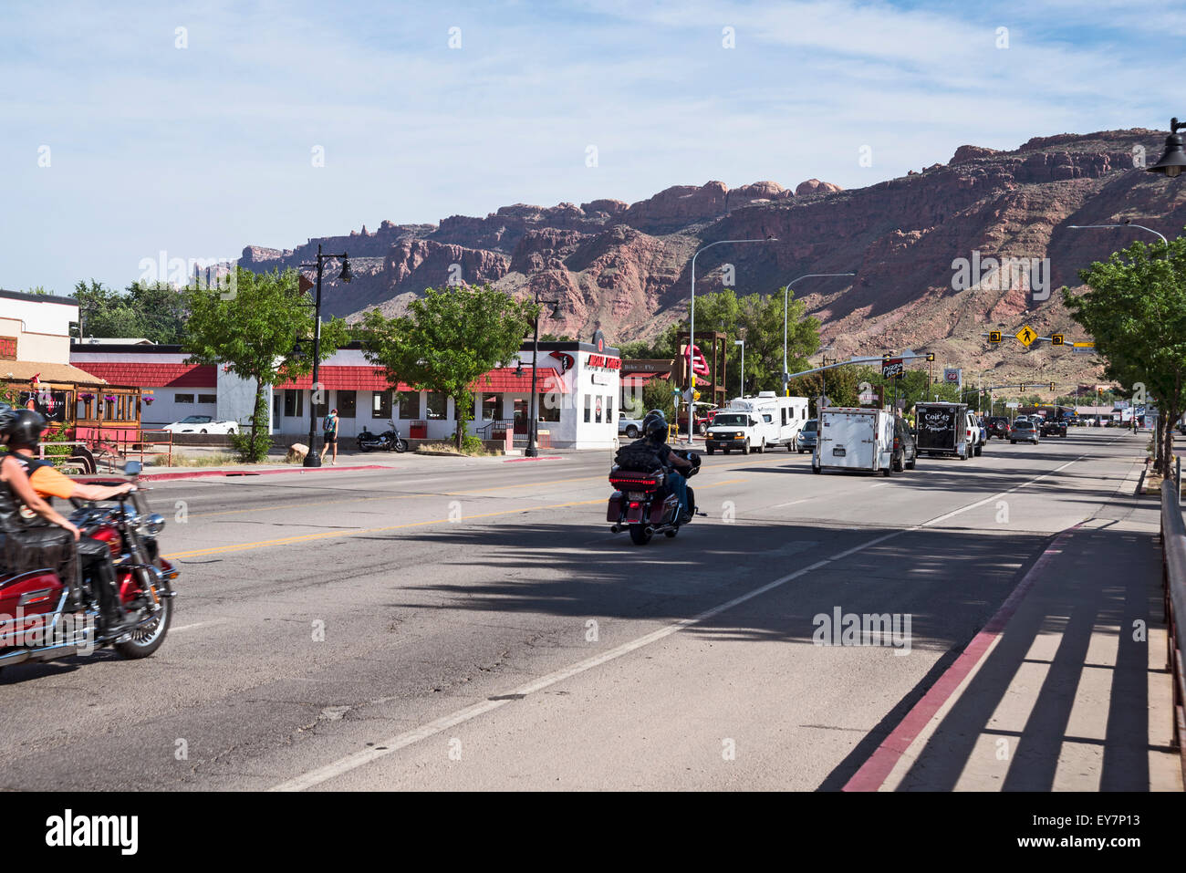 Street of  city Moab, Utah,  USA, North America, UnitedUSA, North America, United States - Stock Image