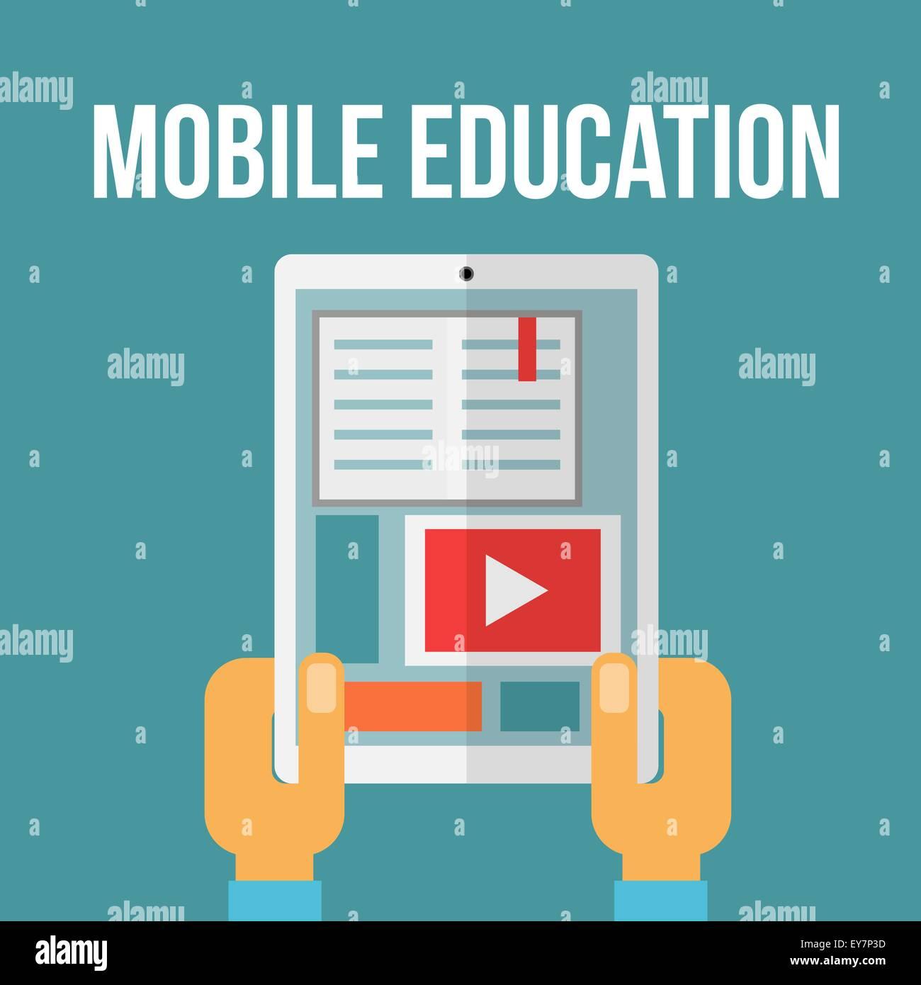 Mobile education concept. Vector illustration - Stock Vector