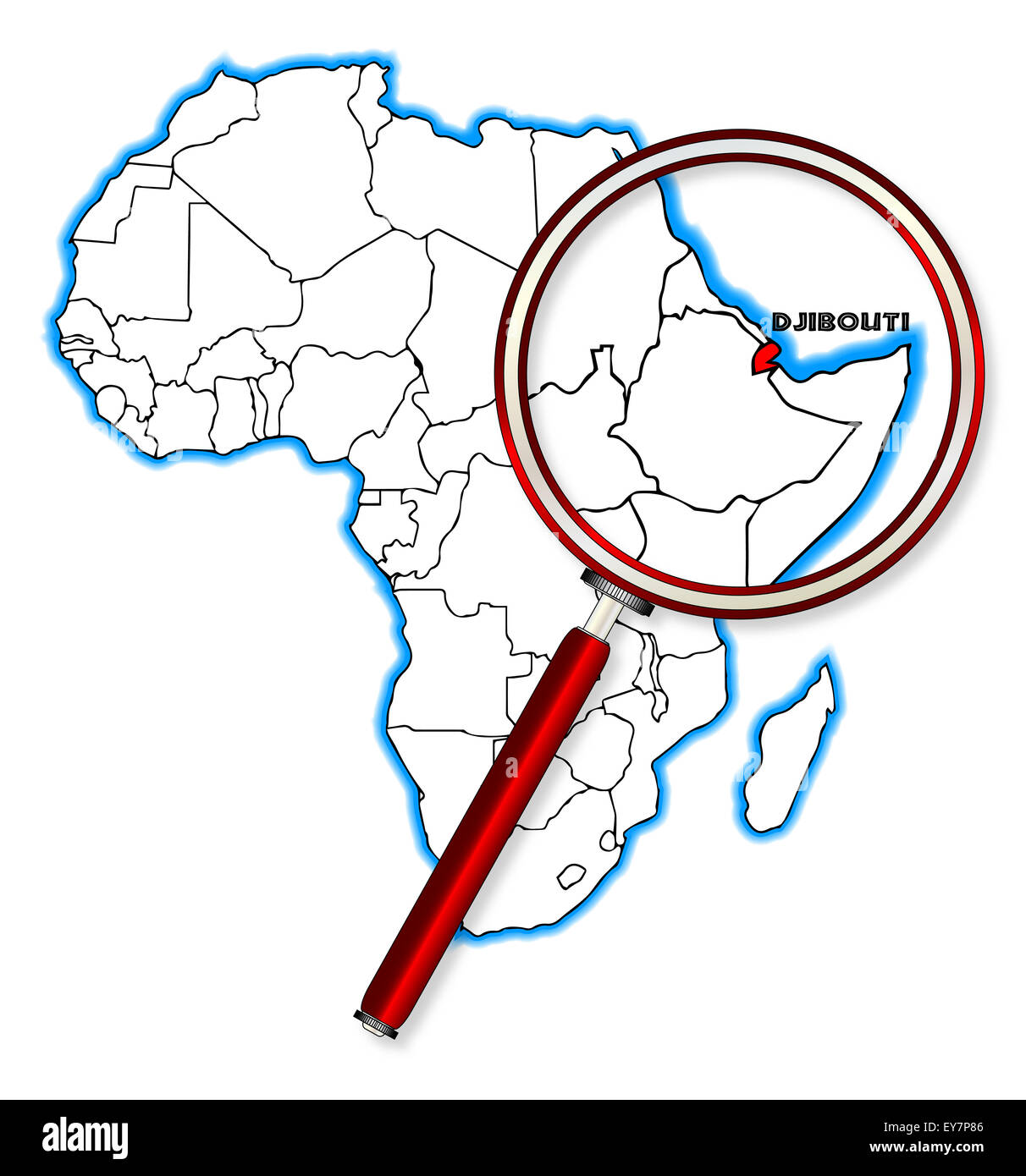 Djibouti On Africa Map.Djibouti Outline Inset Into A Map Of Africa Over A White Background