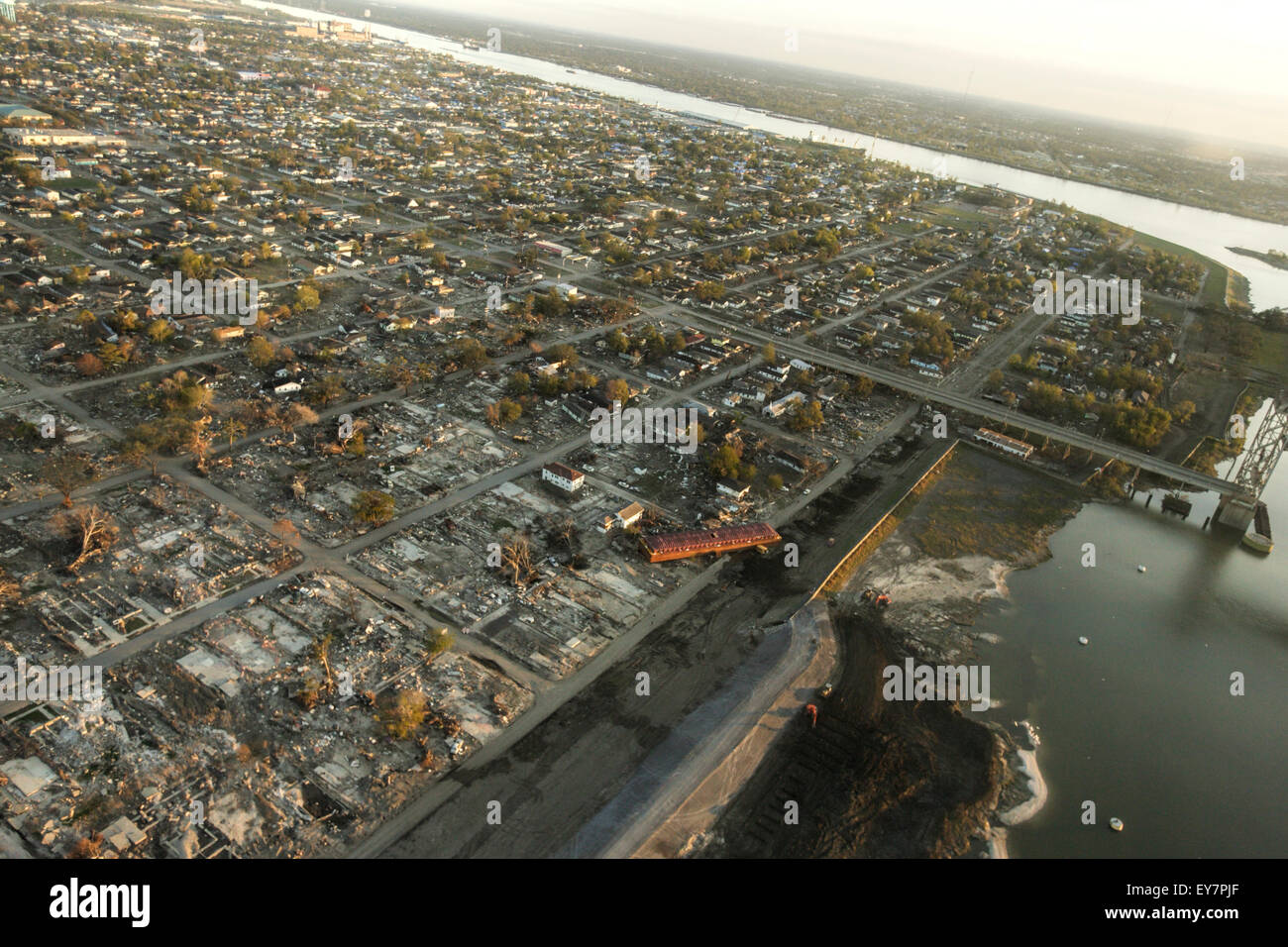 Aerial view of levee breach by a barge in New Orleans' Lower Ninth Ward in the aftermath of Hurricane Katrina. - Stock Image