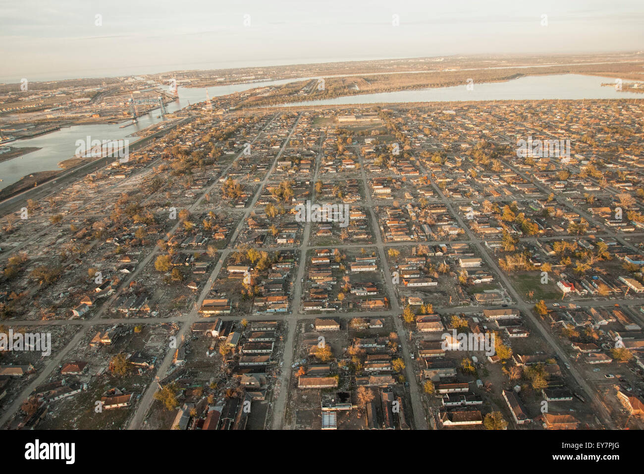 Aerial view of aftermath of Hurricane Katrina in New Orleans' Lower 9th Ward. Stock Photo
