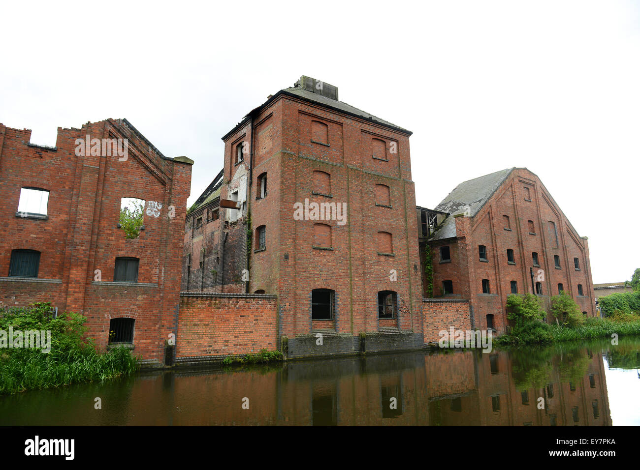 Langley Maltings Grade II-listed Victorian structure and Titford Canal in Oldbury West Midlands Uk - Stock Image
