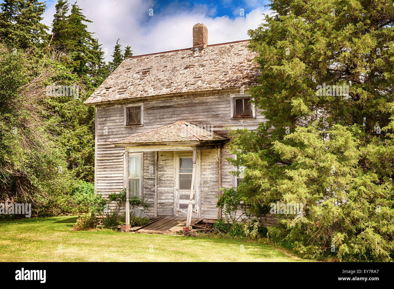 Old Iowa Farmhouse - Stock Image