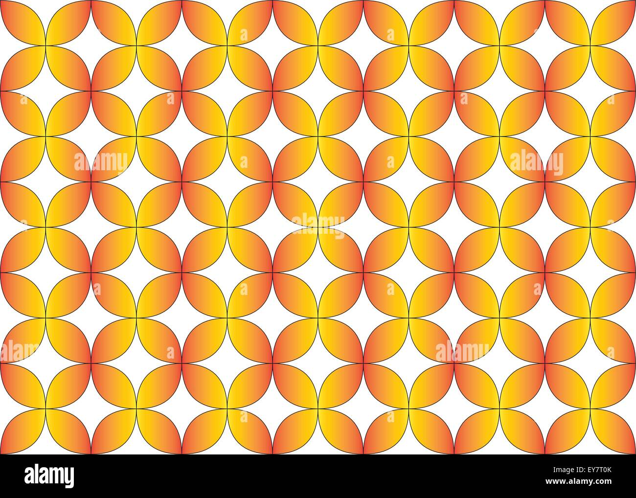 Seamless Geometric Repeat Pattern Of Flower Tessellation In Orange Yellow Gradient Fill Color