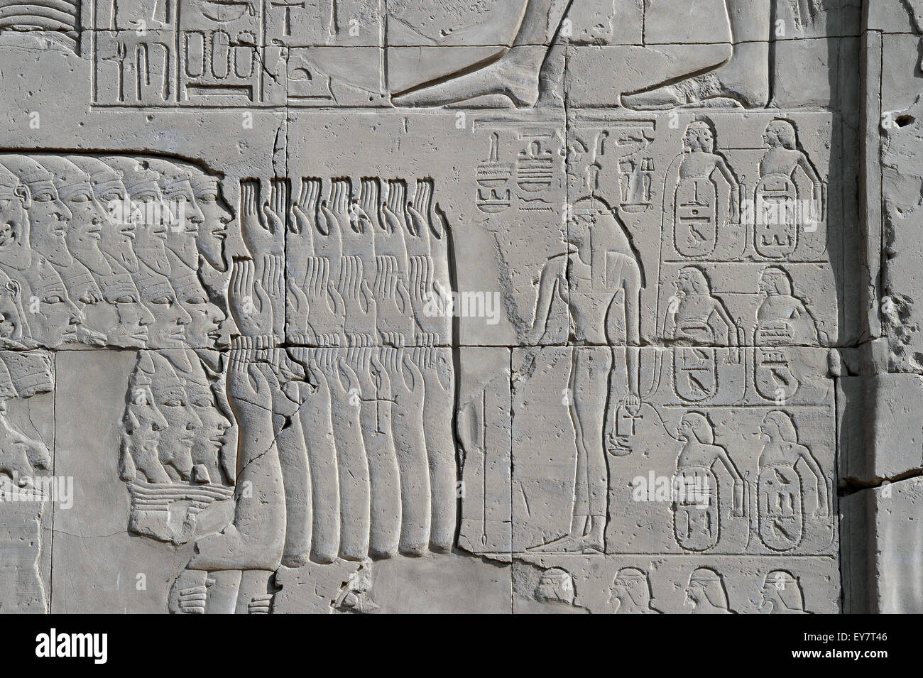 Karnak, Luxor, Egypt. Temple of Karnak sacred to god Amon: the won enemies cities by Tuthmosis III - Stock Image
