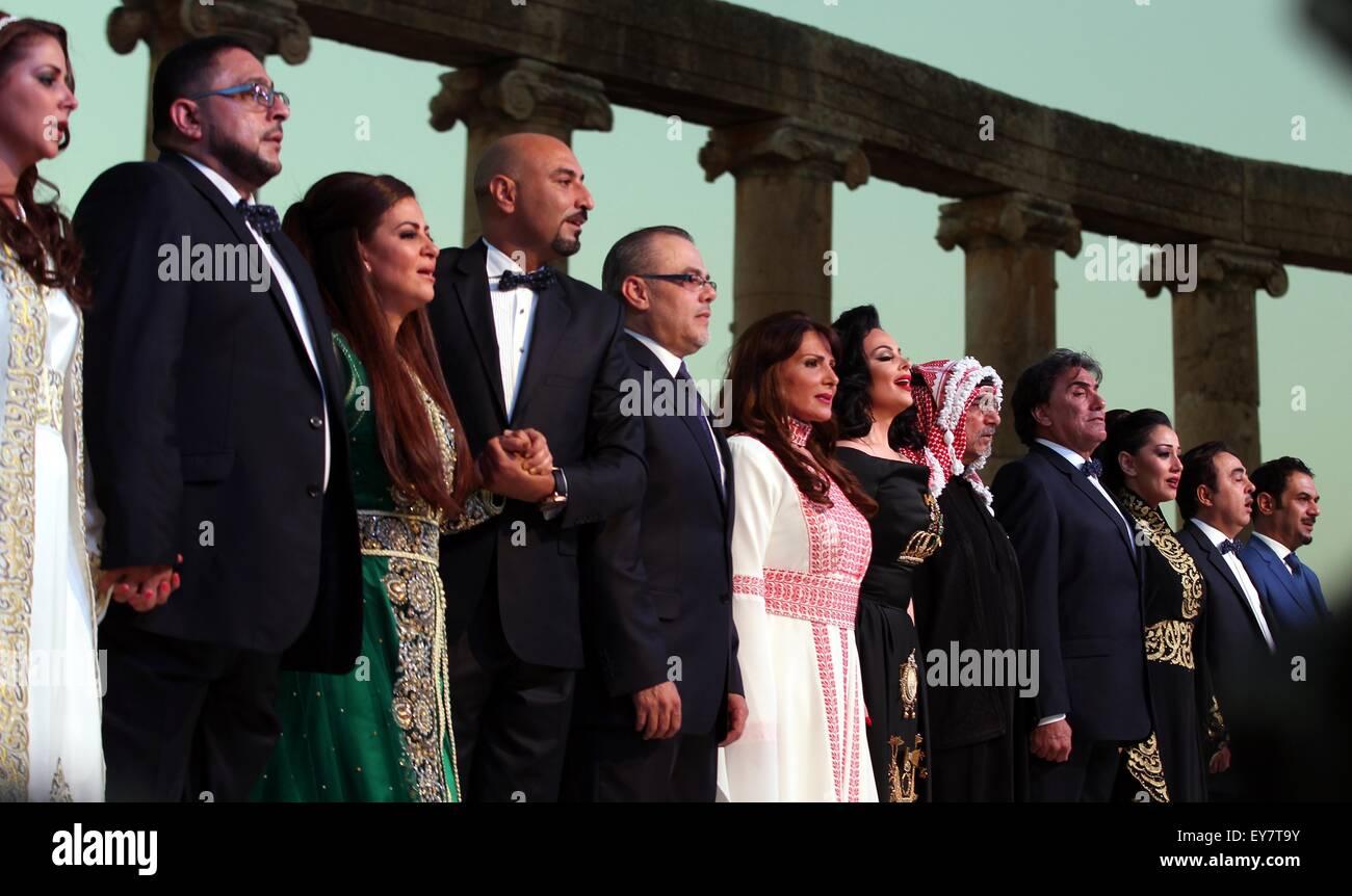 Amman, Jordan. 23rd July, 2015. People perform at the opening ceremony of Jordan's annual Jerash Festival in - Stock Image