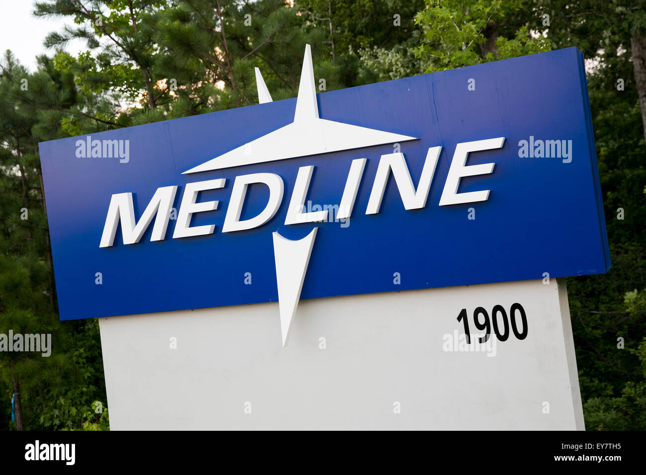 A logo sign outside of a facility occupied by Medline