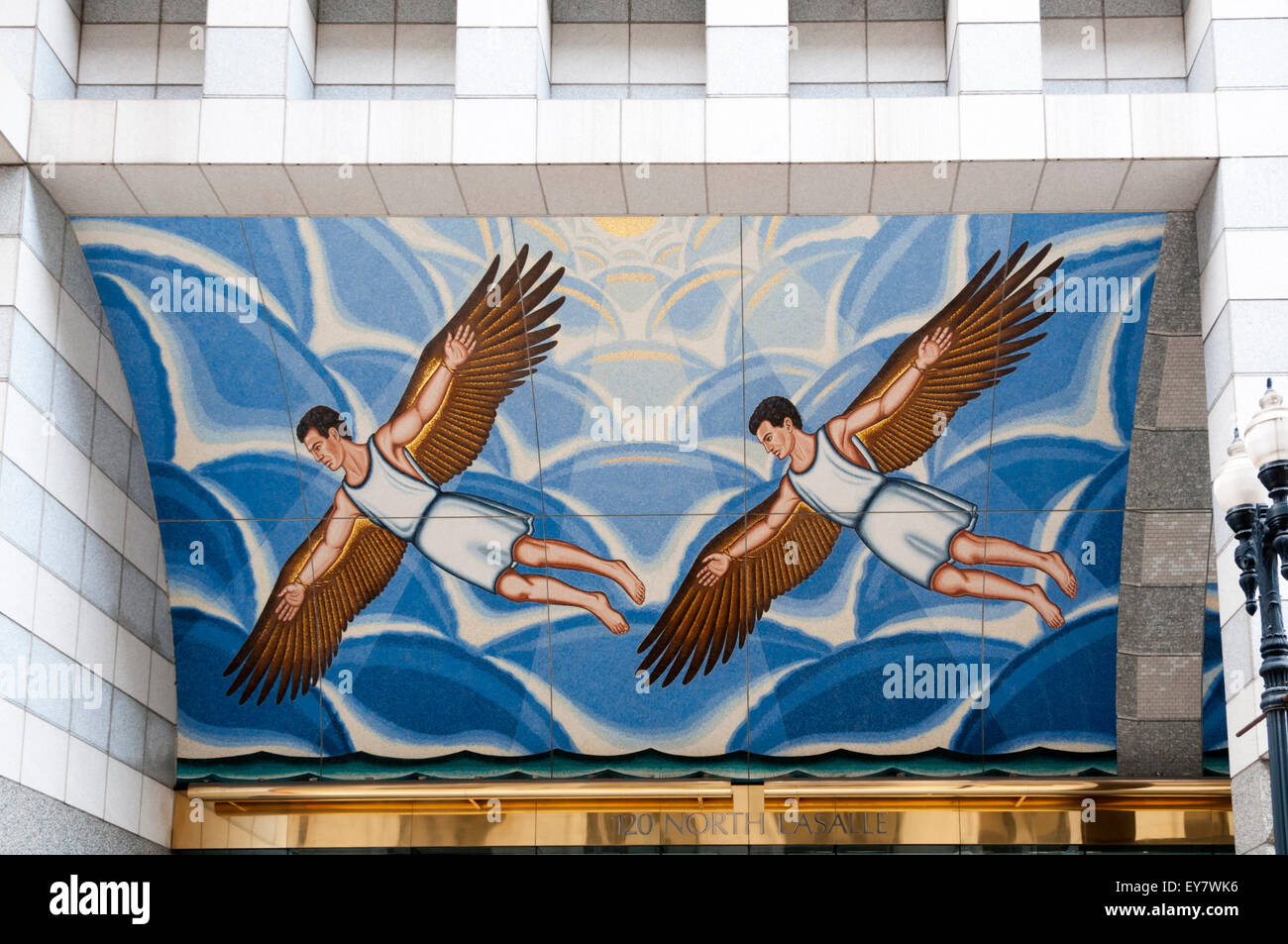 The Flight of Daedalus and Icarus by Roger Brown over the entrance to 120 North La Salle Street, Chicago. - Stock Image