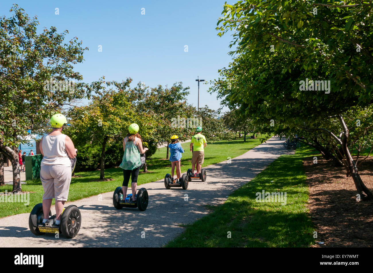 Tourists on a Segway tour in Grant Park, Chicago. Stock Photo