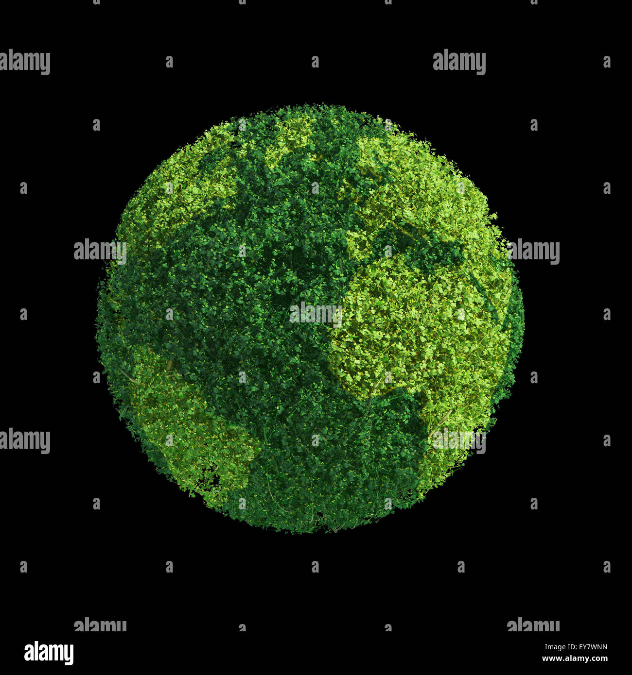 World globe formed out of green leafs - ecology concept - Stock Image