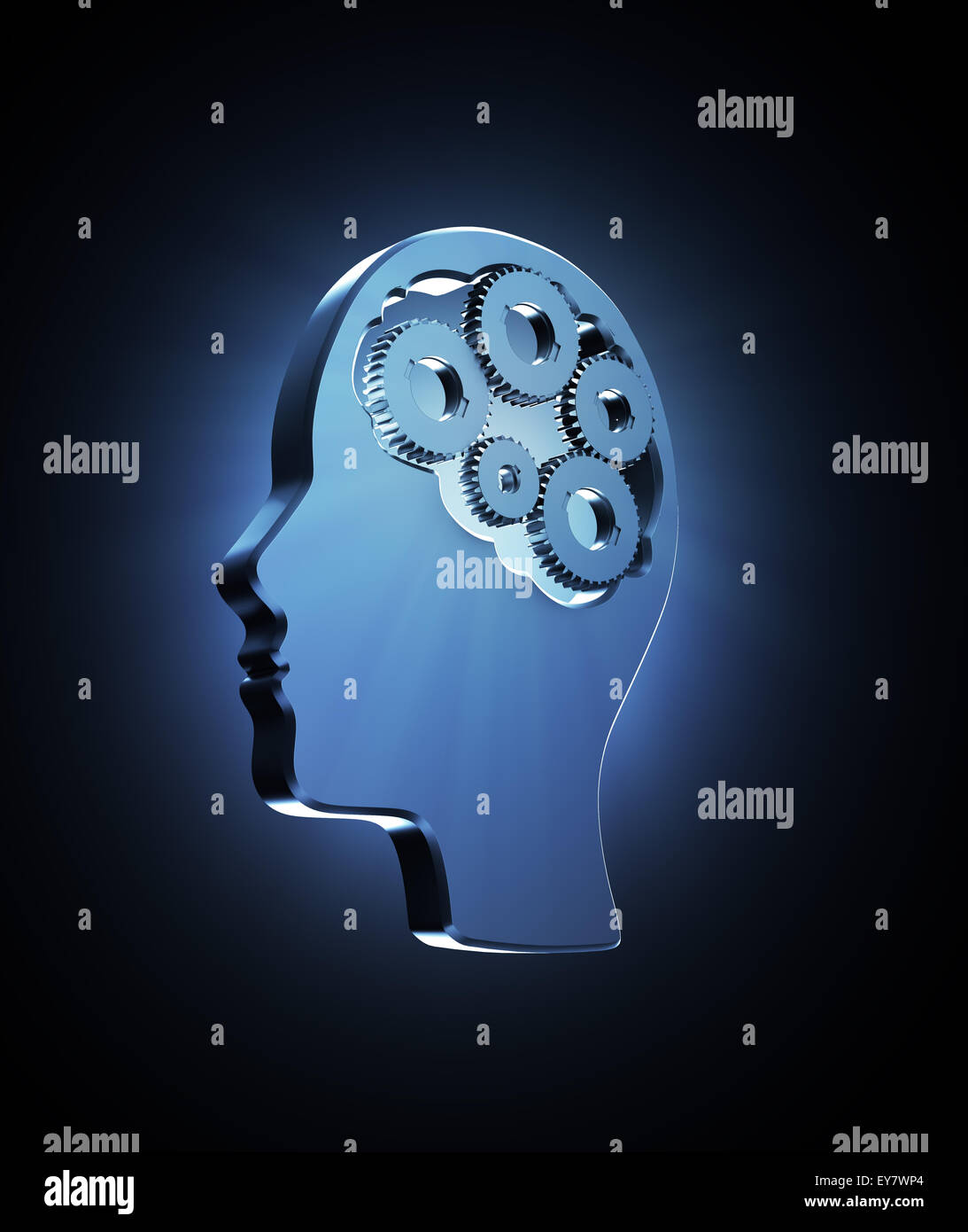 Cogs inside a human head outline - memory and cognitive functions concept illustration - Stock Image