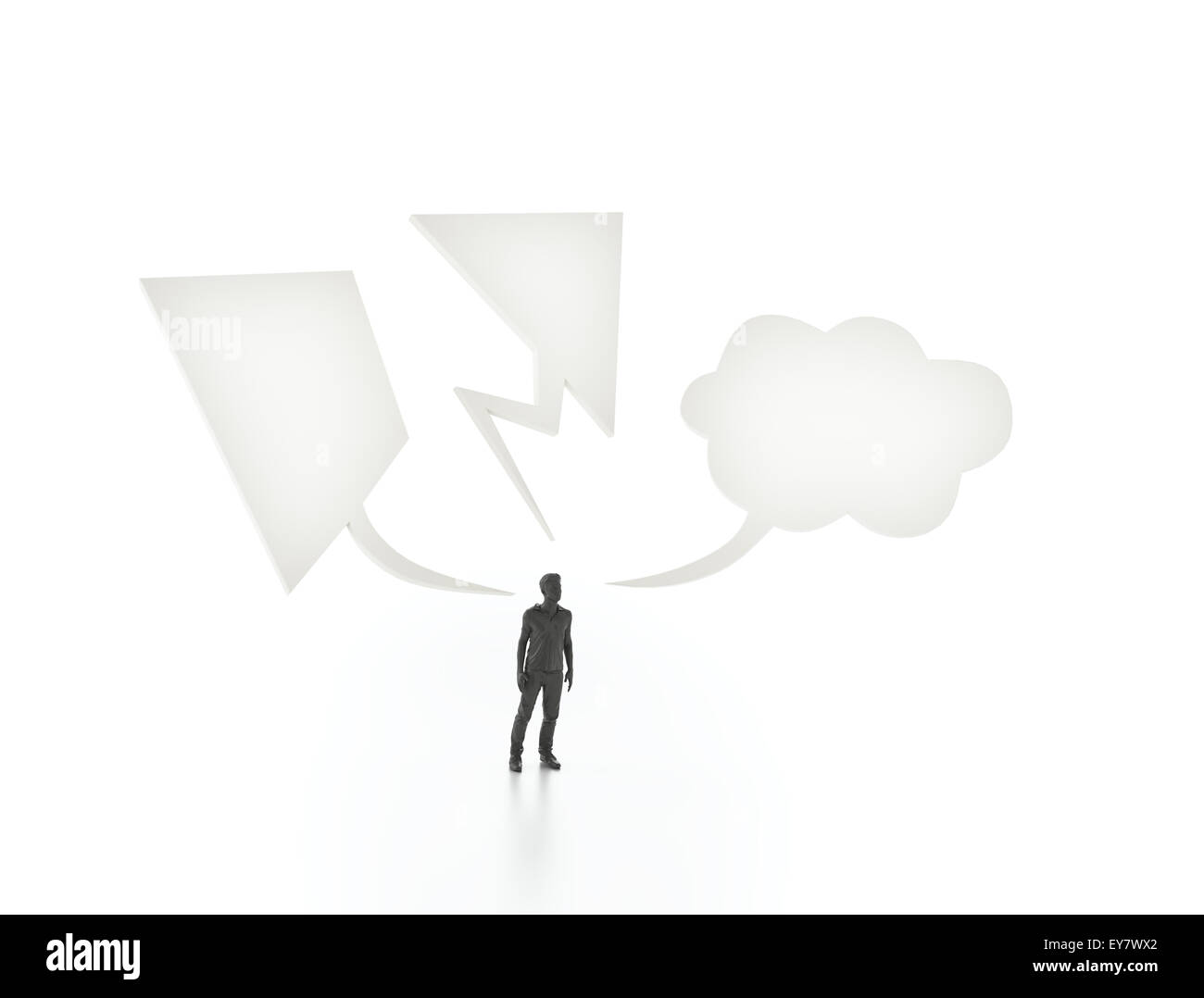 Man with three different speech bubbles - communication concept - Stock Image