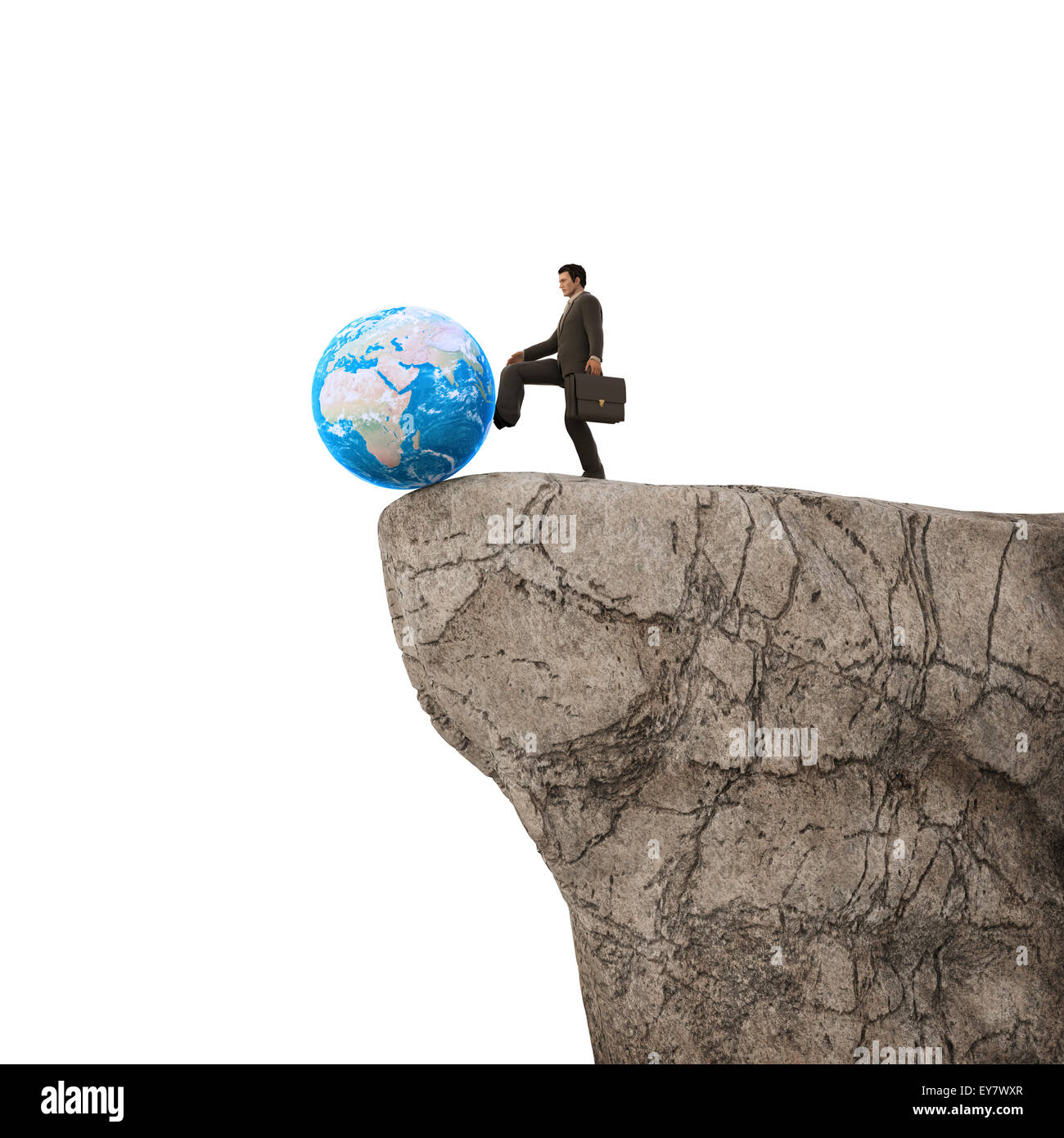 Man pushing Earth of a cliff - Stock Image